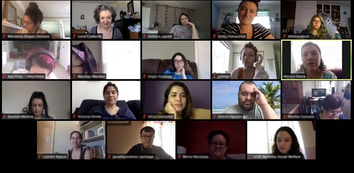 Zoom screenshot of Sin Fronteras students and instructors
