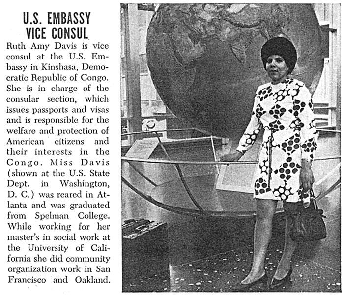 1970 magazine profile of Ruth A. Davis; photo shows her standing in front of a globe in the State Department building