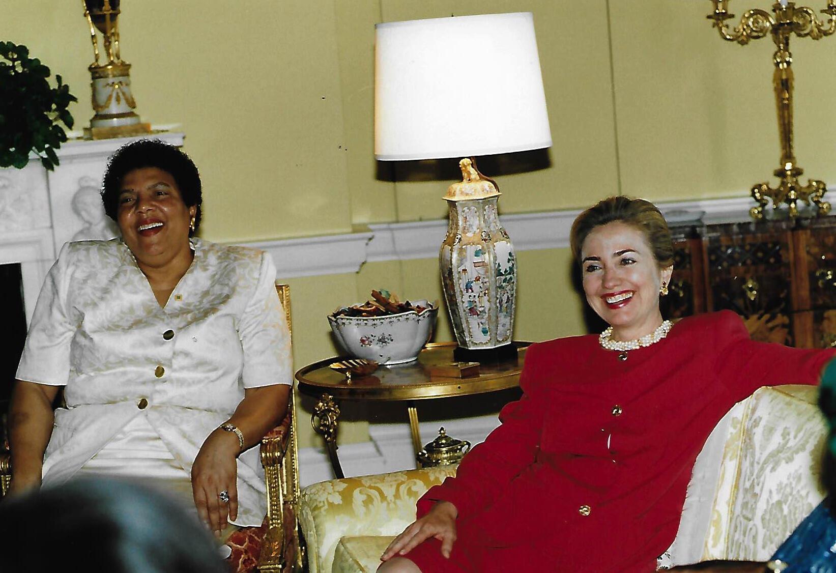 Ambassador Ruth A. Davis with Hillary Clinton in 1995