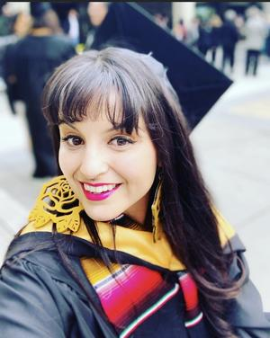 Sylvia Bracamonte at commencement, May 2019