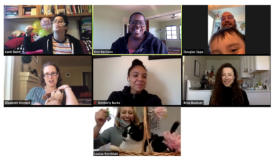 Zoom screenshot Assistant Professor Erin Kerrison's student discussion group sharing kids, pets, and stuffed animals