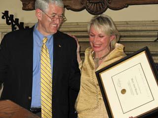 Mary Ann Mason receiving the Berkeley Citation from Chancellor Robert Birgeneau, 2007